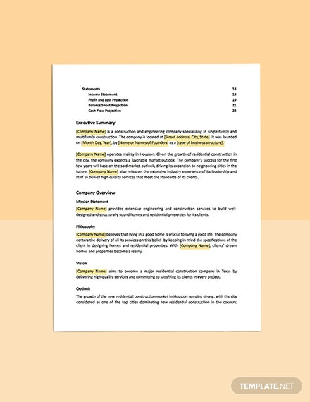 Construction and Engineering Business Plan Template statements