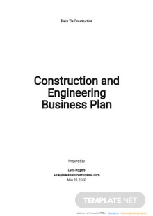 Construction and Engineering Business Plan Template