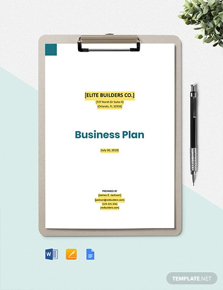 Building Construction Business Plan Template