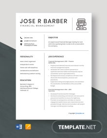 Free Financial Management Resume Template