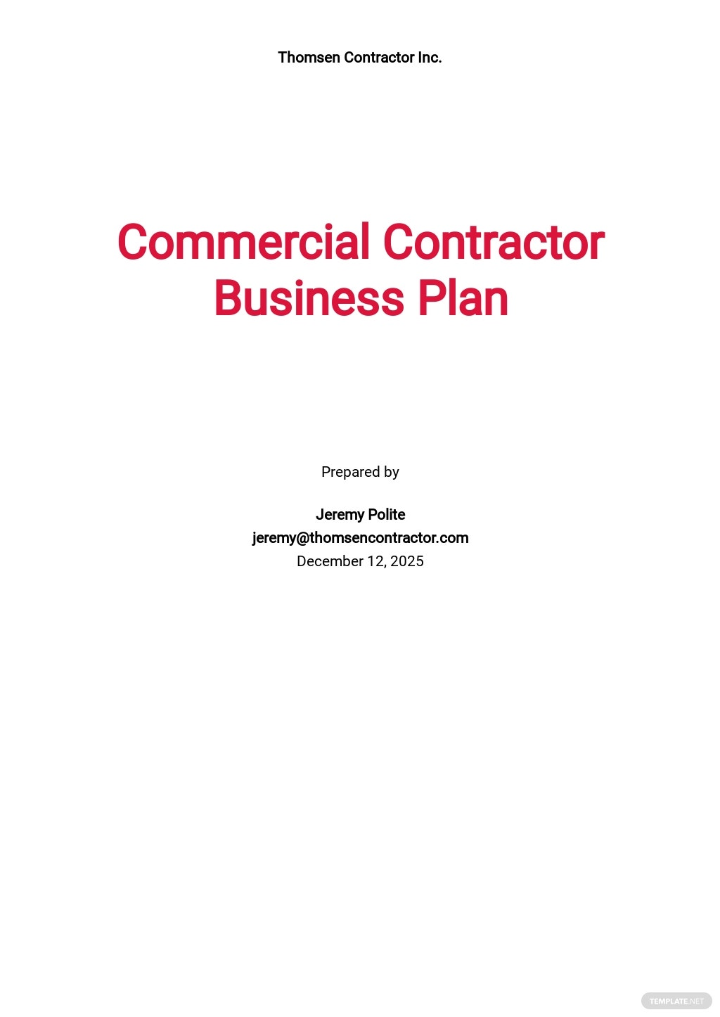 Commercial Contractor Business Plan Template