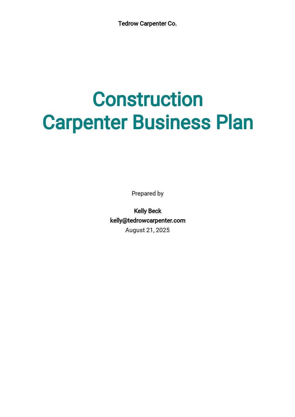 Construction Carpenter Business Plan Template