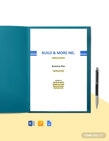Construction Manufacturer Business Plan Template