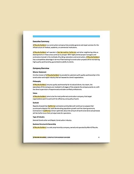 Construction Repair Business Plan template