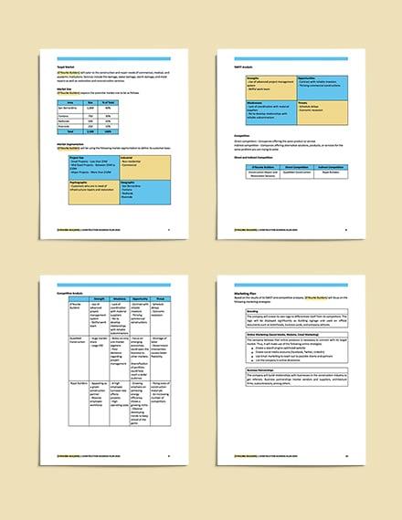 sample Construction Repair Business Plan