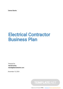 Electrical Contractor Business Plan Template