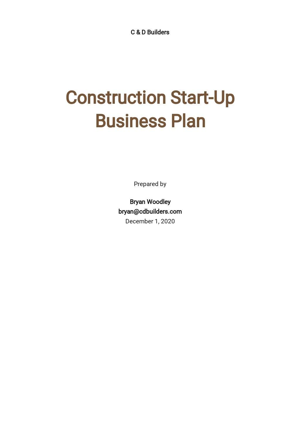 Construction Start-up Business Plan Template