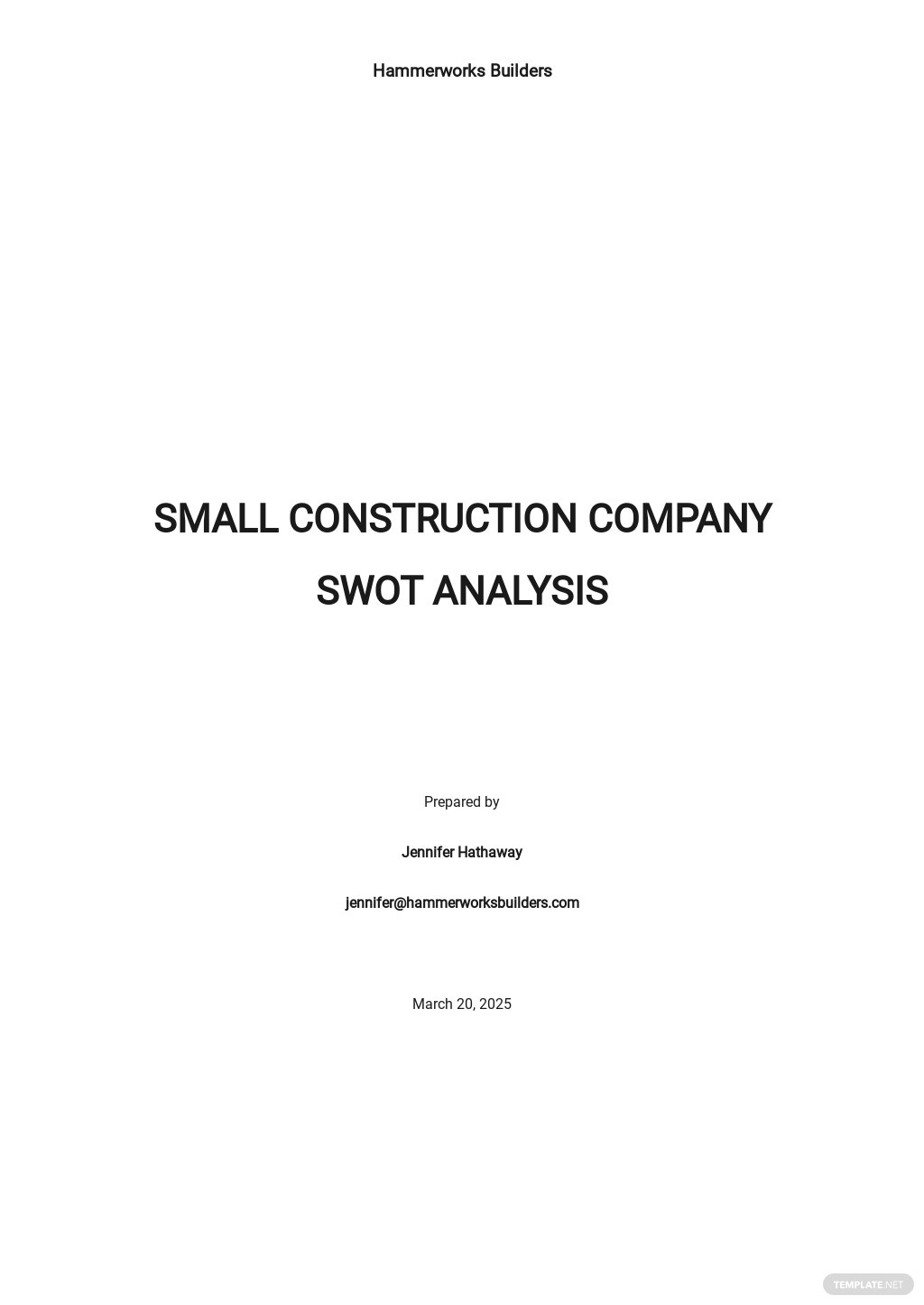 Small Construction Company SWOT Analysis Template