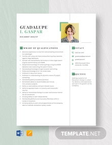 Free Document Analyst Resume Template