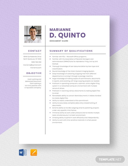 Free Document Clerk Resume Template