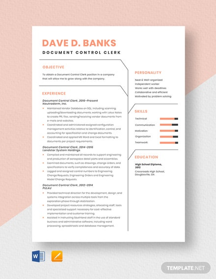 Free Document Control Clerk Resume Template