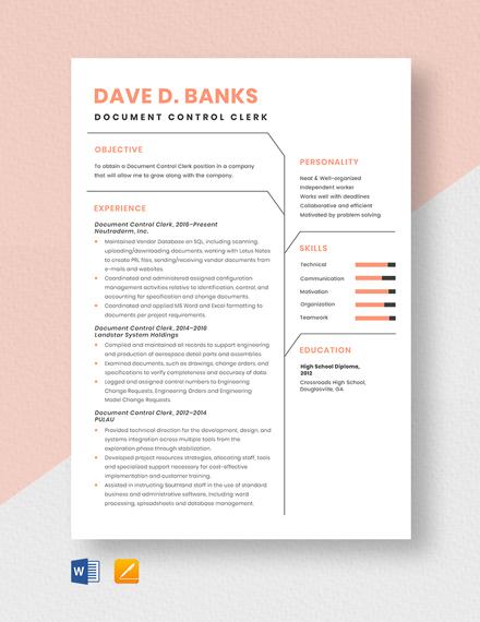Free Document Control Clerk Resume Template