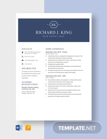 Head Pastry Chef Resume Template
