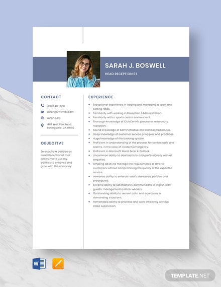 Head Receptionist Resume Template