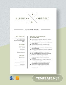 Head Resident Assistant Resume Template