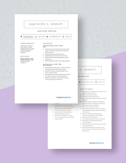 Head Start Director Resume Download