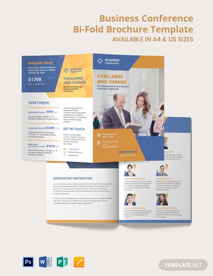 Business Conference Bi-Fold Brochure Template