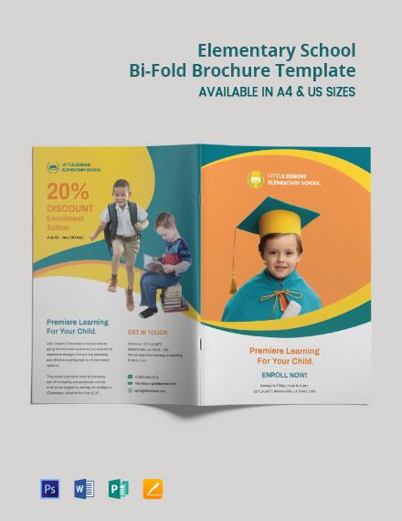 Elementary School Bi-Fold Brochure Template