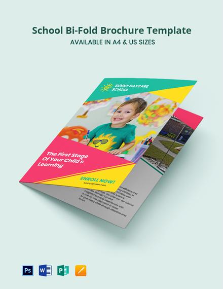 School Bi-Fold Brochure Template