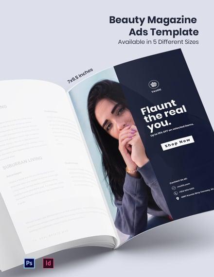 Free Fashion Beauty Magazine Ads Template