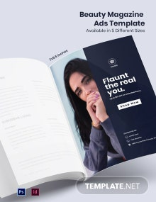 Free Fashion Beauty Magazine Ads Template