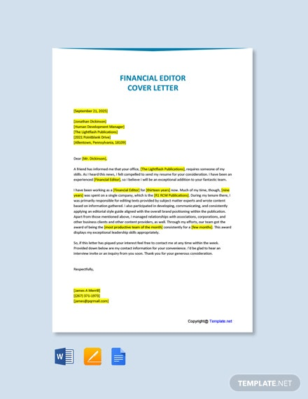 Free Financial Editor Cover Letter Template