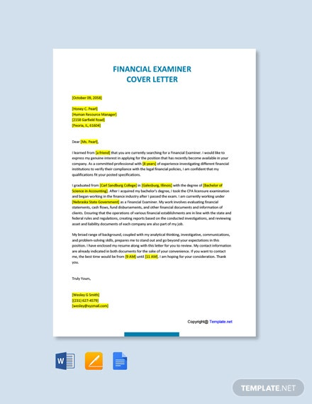 Free Financial Examiner Cover Letter Template