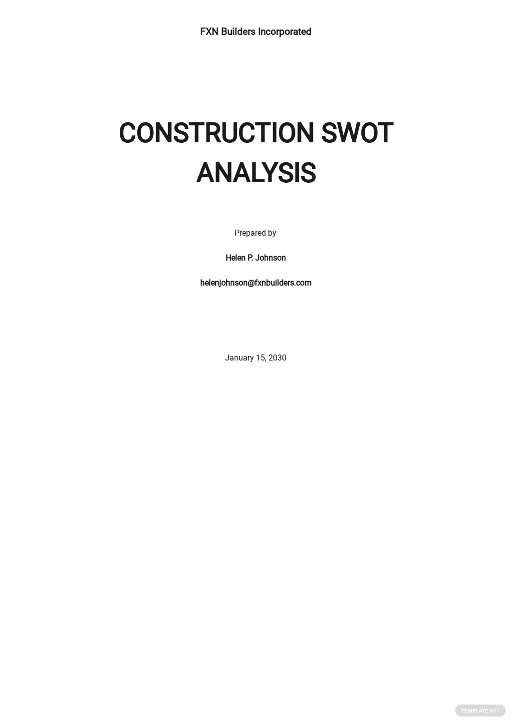 Construction SWOT Analysis Template