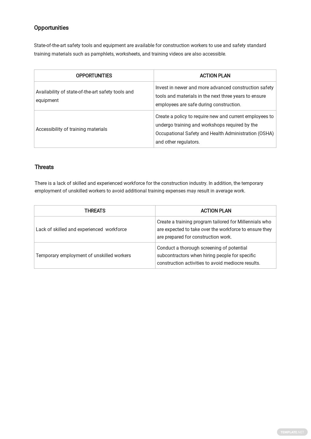Construction Safety SWOT Analysis Template 2.jpe