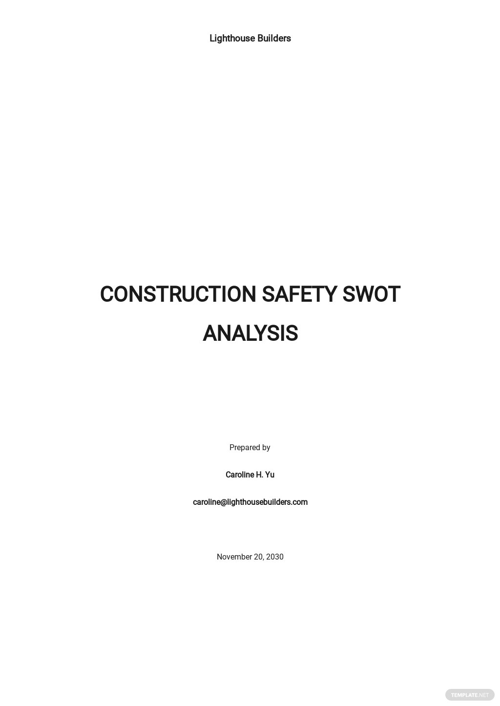 Construction Safety SWOT Analysis Template