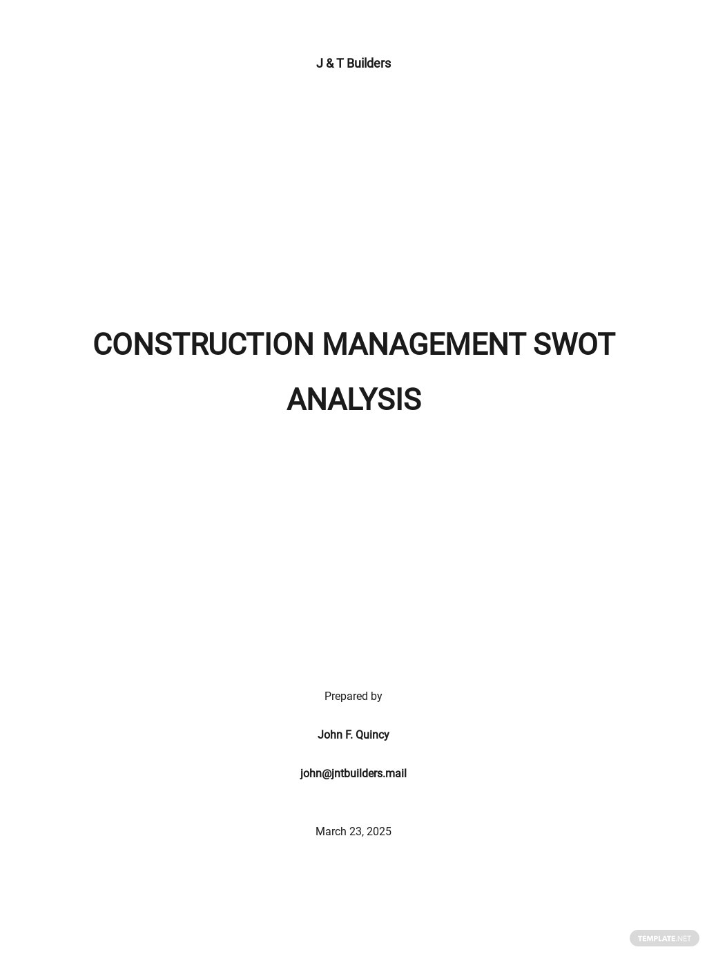 Construction Management SWOT Analysis Template
