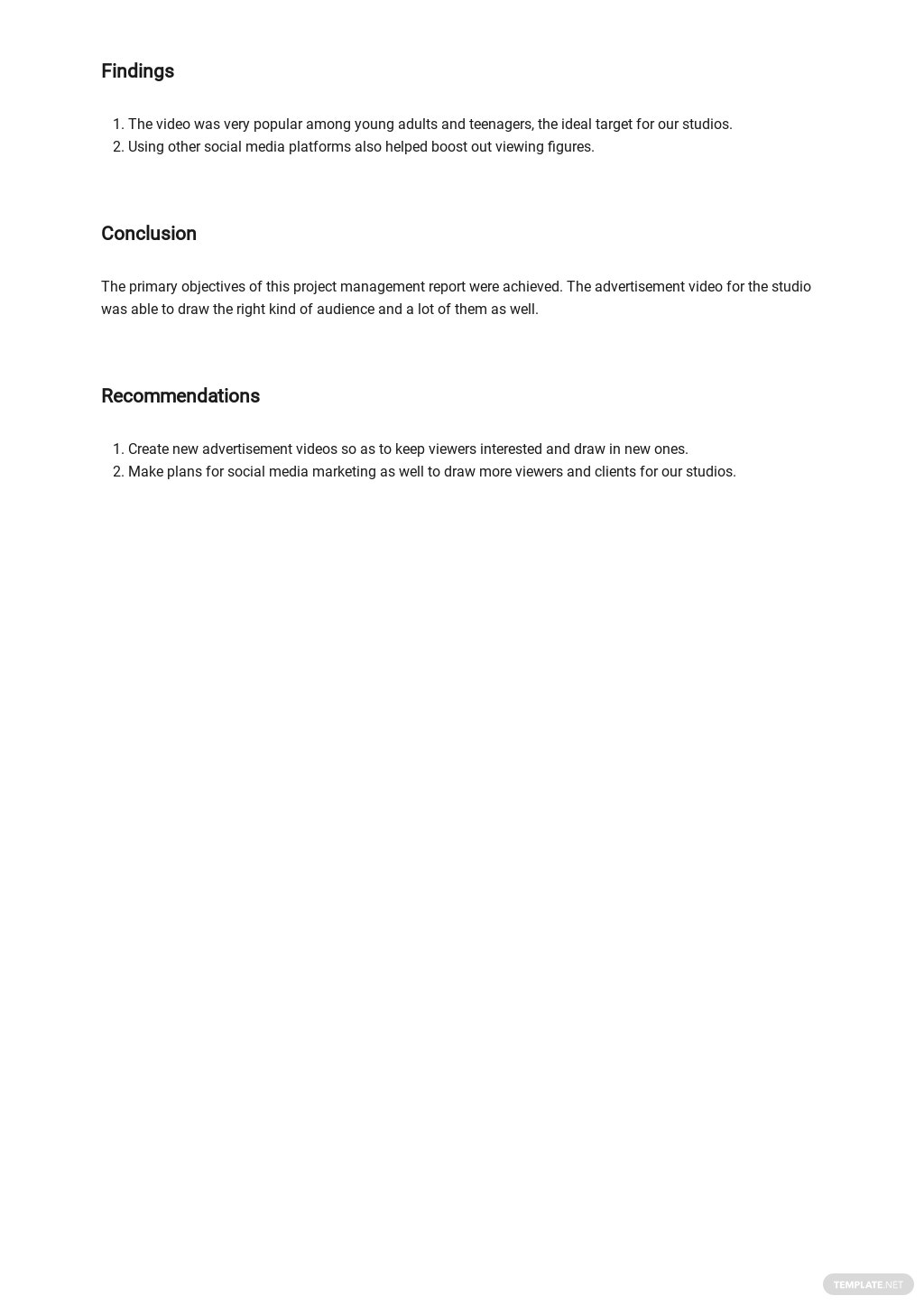 Free Project Management Report Template 3.jpe