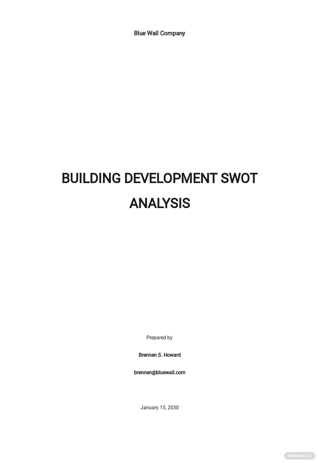 Building Development SWOT Analysis Template