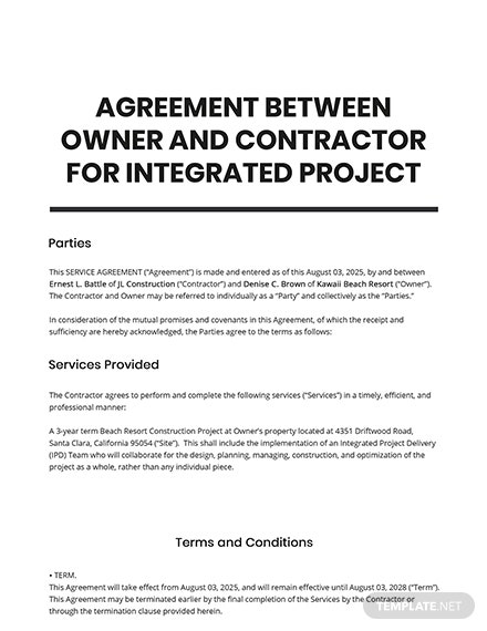 Agreement Between Owner and Contractor for Integrated Project Delivery Template