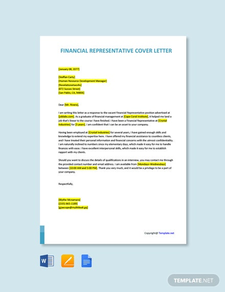 Free Financial Representative Cover Letter Template