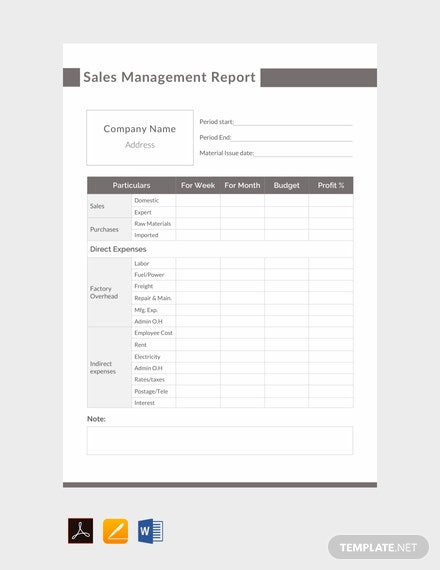Free Sales Management Report Template