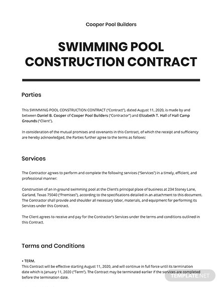 Swimming Pool Construction Contract Template