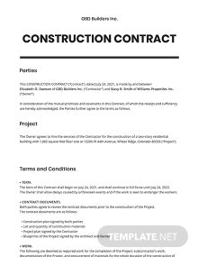 Small Construction Contract Template