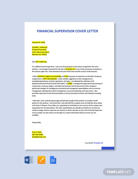Free Financial Supervisor Cover Letter Template