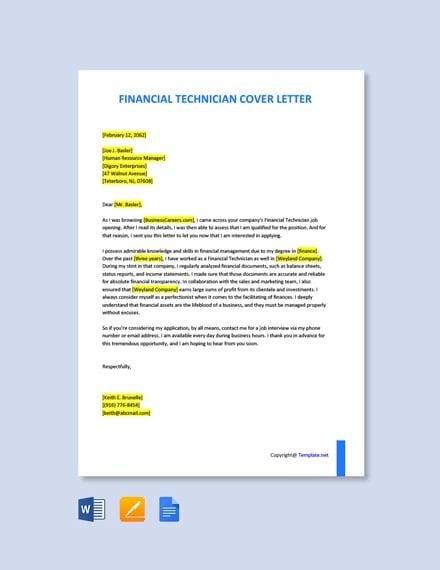 Financial Technician Cover Letter Template