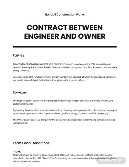 Contract between Engineer and Owner Template