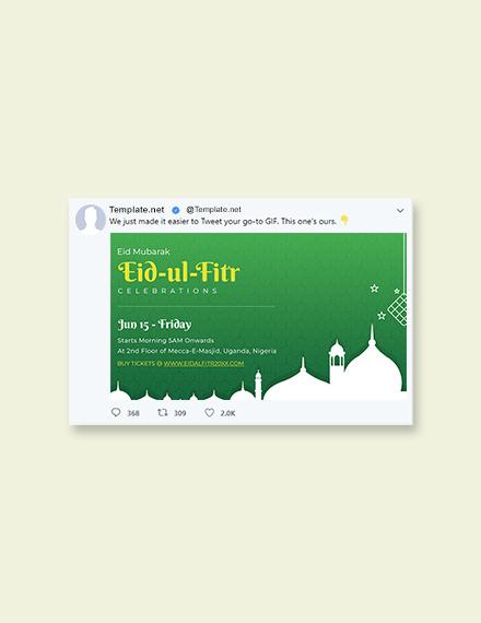 Free Eid Ul Fitr Twitter Post Template