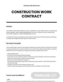 Construction Work Contract Template