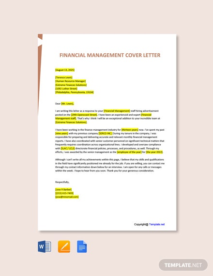 Free Financial Management Cover Letter Template