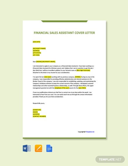 Free Financial Sales Assistant Cover Letter Template