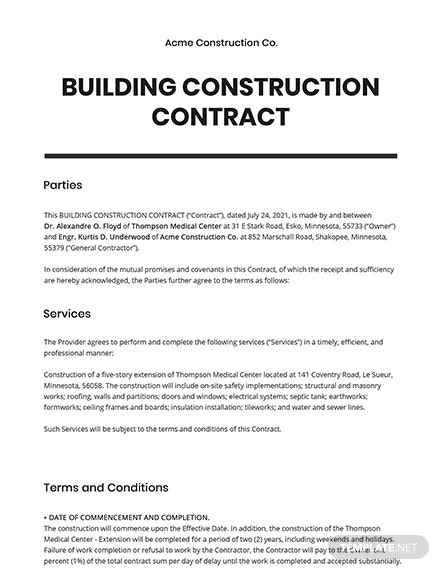 Building Construction Contract Template