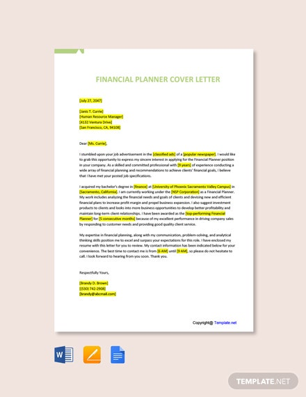 Free Financial Planner Cover Letter Template