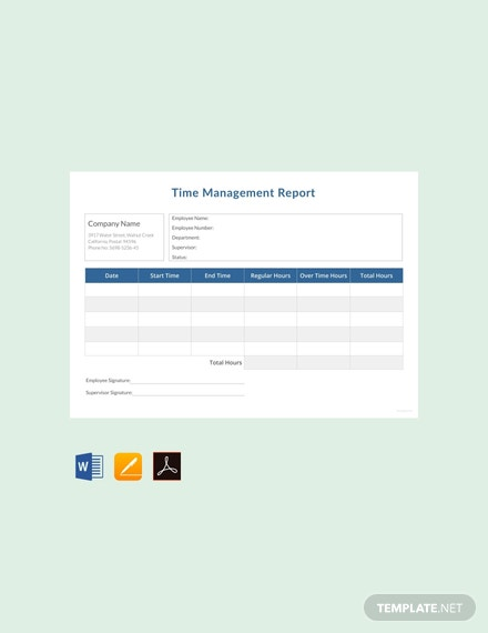 Free Time Management Report Template