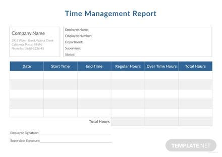 Time Management Report Template