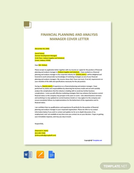 Financial Planning and Analysis Manager Cover Letter Template